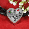 Awesome Love Papillion with Paw Prints, Heart and Rose Real Leather Charm Bracelet