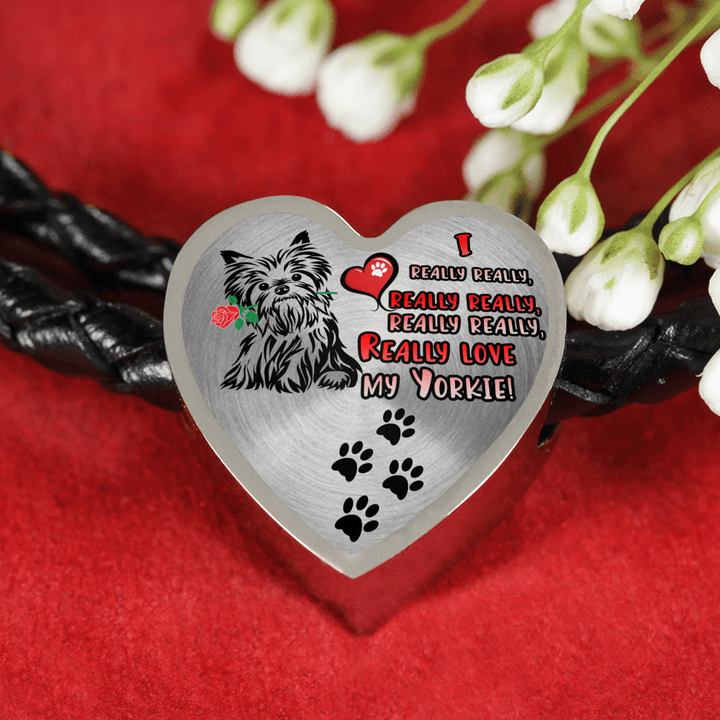 I Really really really Love My Yorkie with Dog Paw Prints Real Leather Charm Bracelet