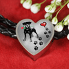 Awesome Love Doberman with Paw Prints, Heart and Rose Real Leather Charm Bracelet