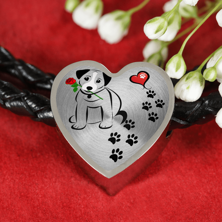 Awesome Love Jack Russell Terrier with Paw Prints, Heart and Rose Real Leather Charm Bracelet