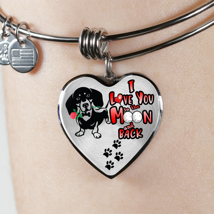 Dachshund - I Love To The Moon and Back - With Rose and Paw Prints - Luxury Adjustable Necklace or Bangle