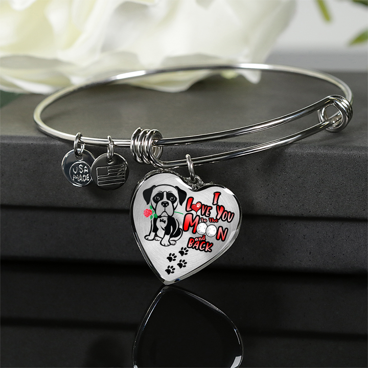 Boxer - I Love You To the Moon & Back - with Rose and Paw Prints - Luxury Adjustable Necklace or Bangle