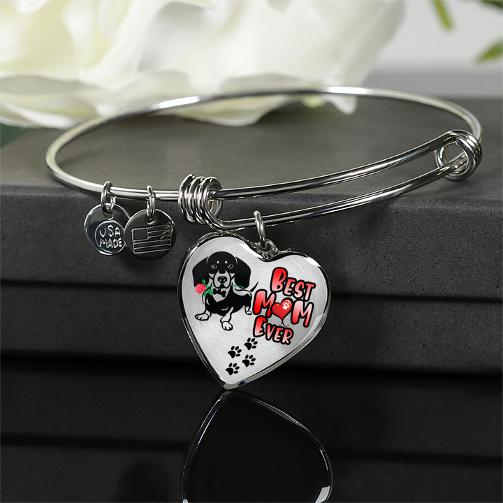 Dachshund - Best Mom Ever - With Rose and Paw Prints - Luxury Adjustable Necklace or Bangle