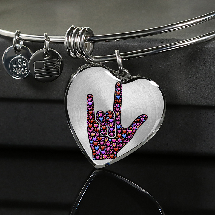 Sign Language Love Sign - Heart - Luxury Adjustable Necklace or Bangle