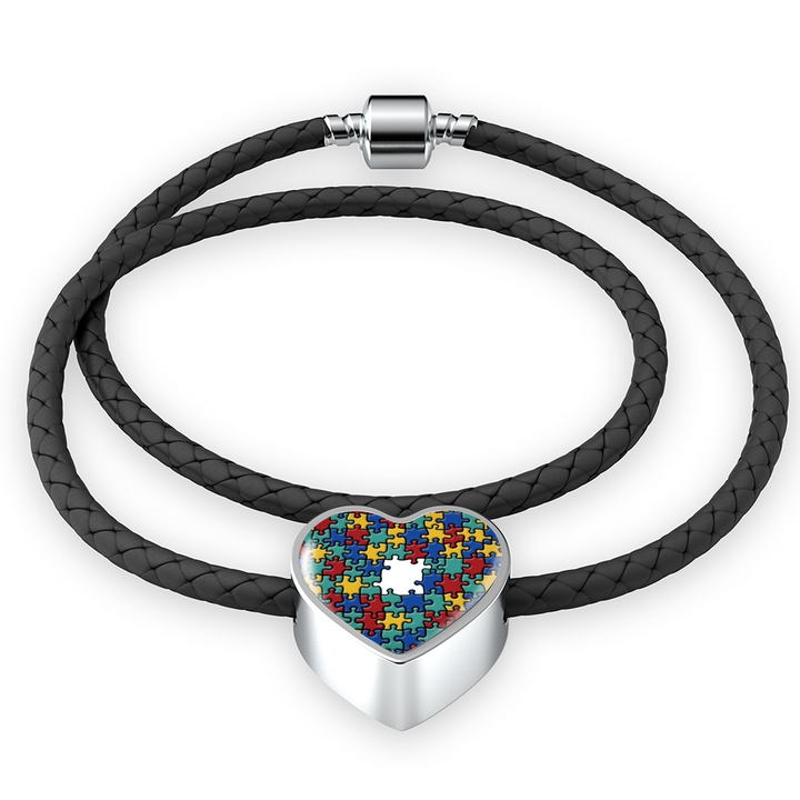 Autism Colorful Puzzle Luxury Heart Charm in Real-Leather Bracelet