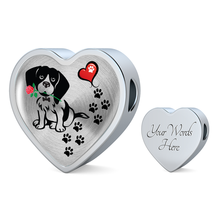 Awesome Love Beagle with Paw Prints, Heart and Rose Real Leather Charm Bracelet