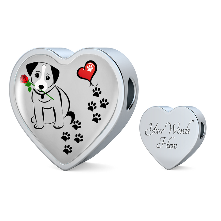 Awesome Love Jack Russell Terrier with Paw Prints, Heart and Rose Charm Bracelet