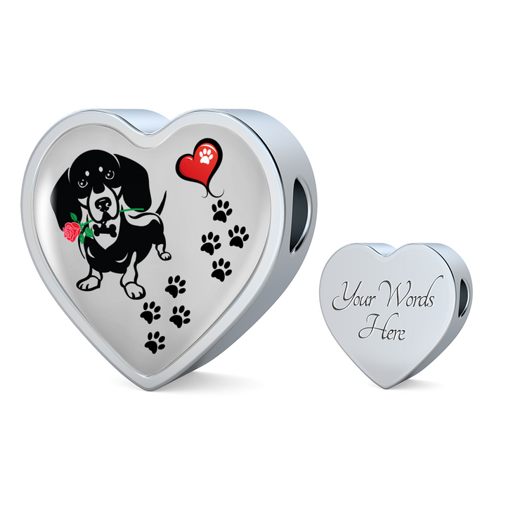 Awesome Love Dachshund with Paw Prints, Heart and Rose Charm Bracelet