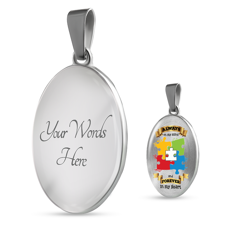 Always On My Mind and Forever In My Heart Oval Luxury Necklace - Autism