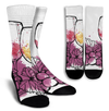 Wine Glass and Grapes Crew Socks - White