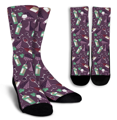All About Wine Crew Socks - Purple