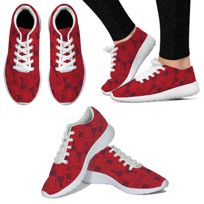 Wine Bottle with Glass WOMENS SNEAKERS - Red
