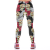 Sugar Skull Leggings with Red Rose and Leaves