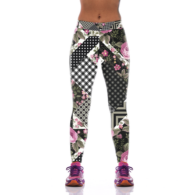 Dotted and Chekered Pink Floral Leggings