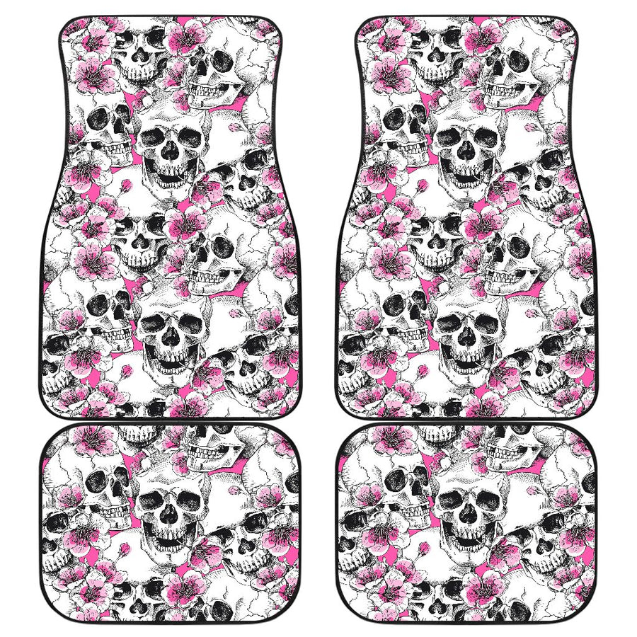 Skulls with Pink Flowers Front and Back Car Mats