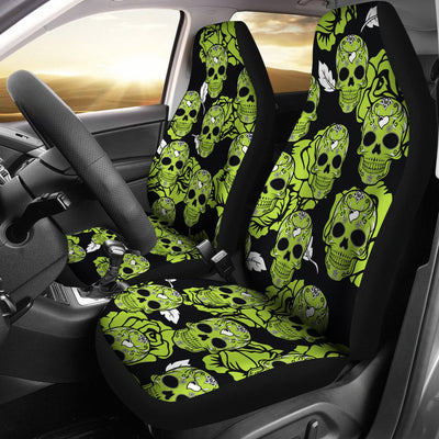 Green Skulls Universal Car Seat Cover (Set of 2)
