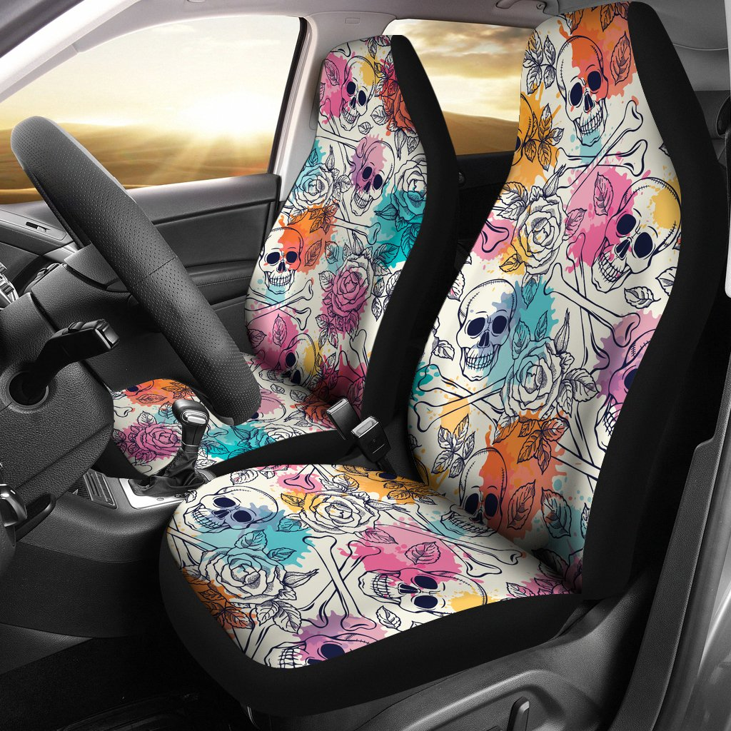 Skulls Colorful Universal Car Seat Covers Set Of 2