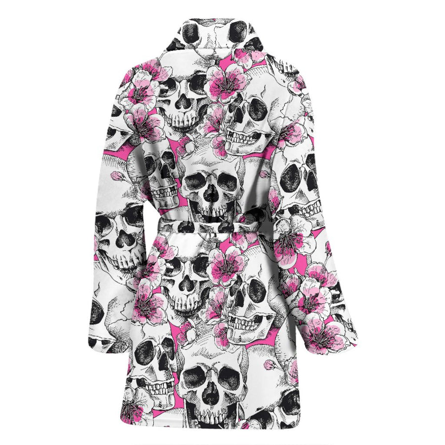 Skulls with Pink Flowers Women's Bath Robe