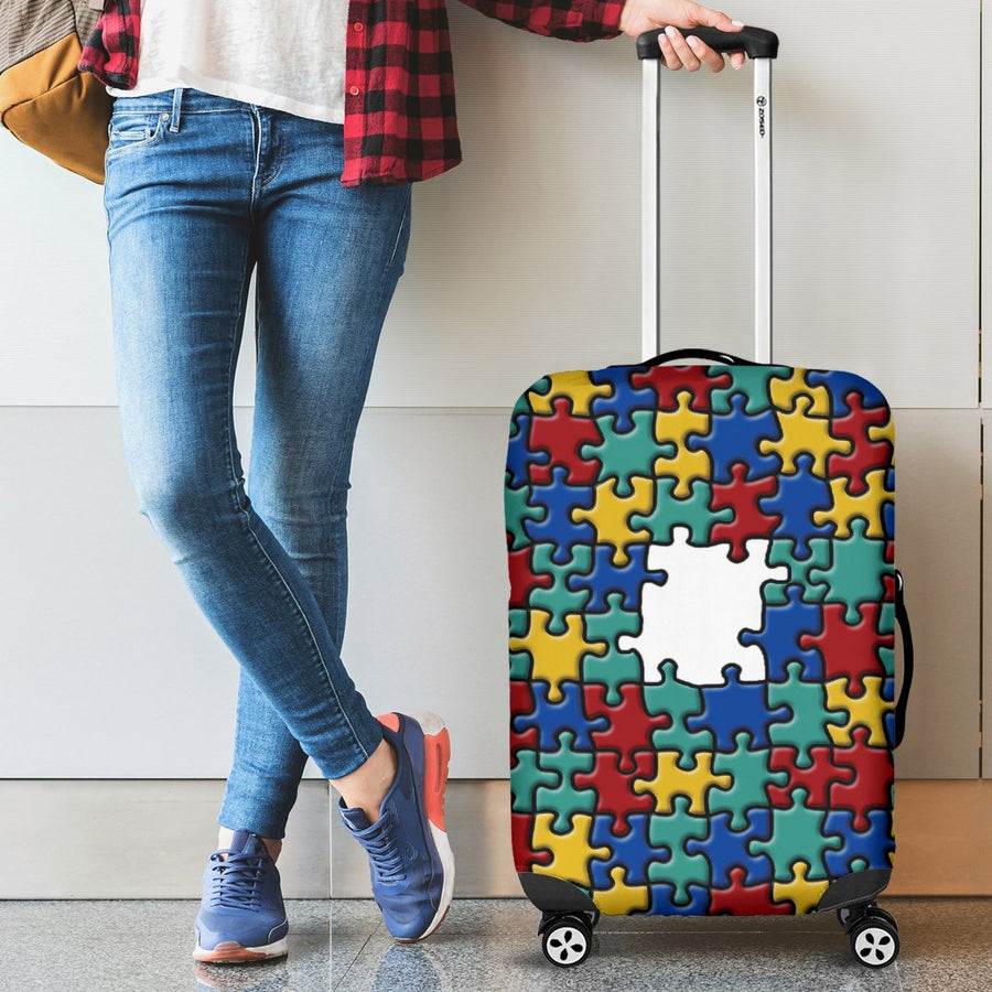 Autism Colorful Puzzle Luggage Cover