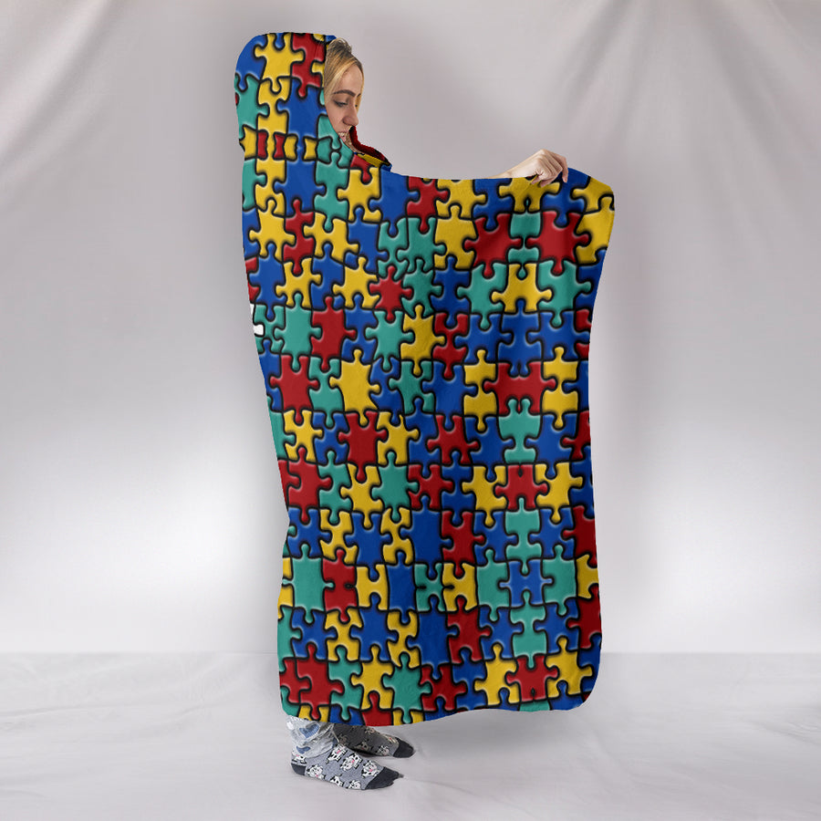 Autism Colorful Puzzle Premium Hooded Blanket v2