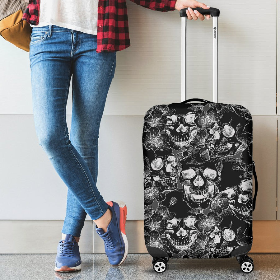 Skulls in Grey and Black Luggage Cover