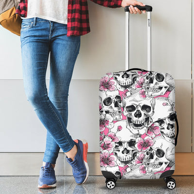 Skulls with Pink Flowers Luggage Cover
