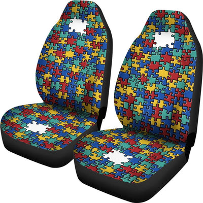 Autism Colorful Puzzle Pattern Universal Car Seat Cover (Set of 2)