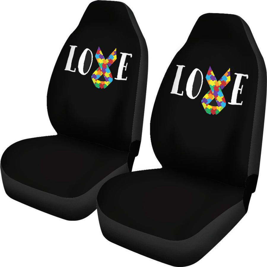 Autism Love with Ribbon Universal Car Seat Cover (Set of 2)