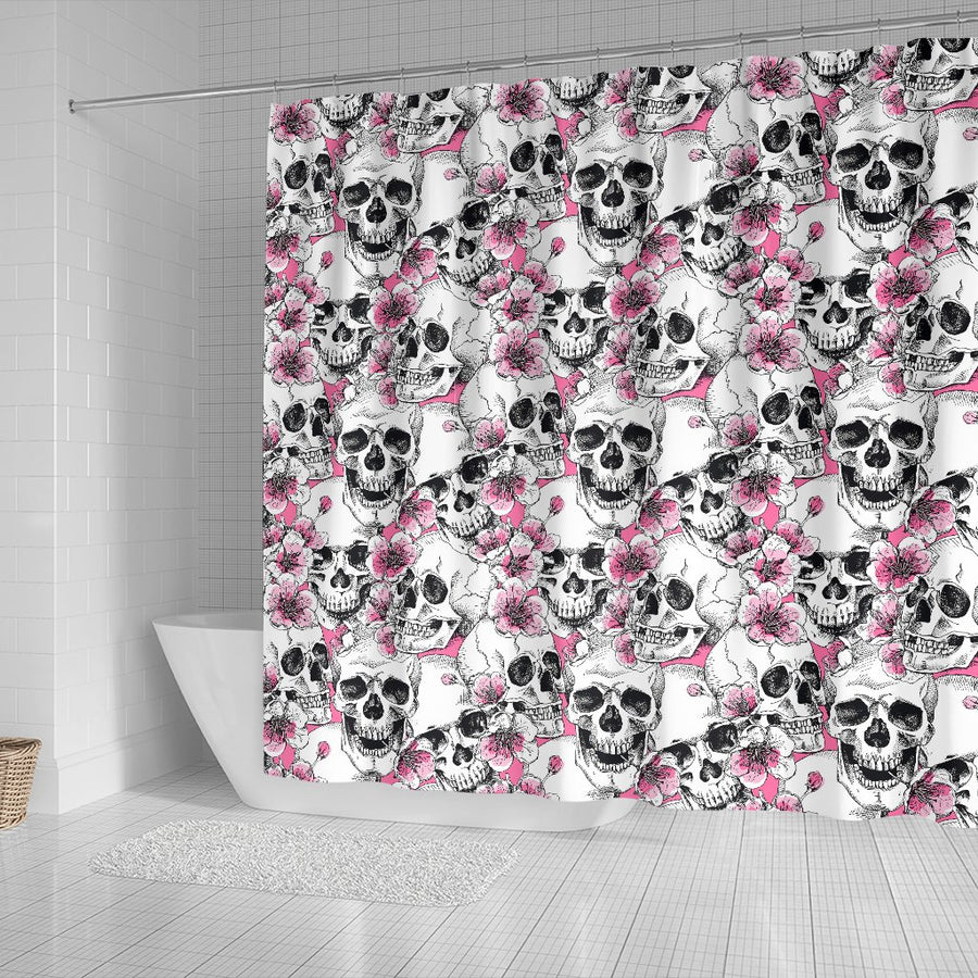 Skulls with Pink Flowers Shower Curtain
