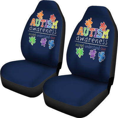 Autism Awareness - Accept Understand Love Universal Car Seat Cover (Set of 2)