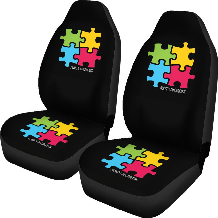 Autism Awareness 4 Pieces Puzzle Universal Car Seat Cover (Set of 2)