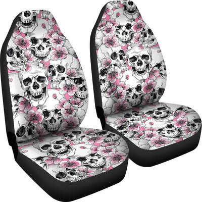 Skulls Pink Flowers/Rose Universal Car Seat Covers (Set of 2)