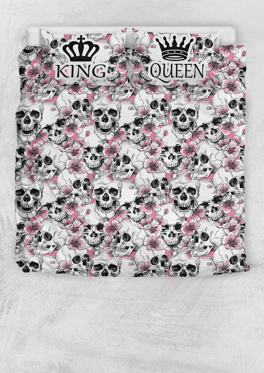 Skulls with Pink Flowers/Roses King and Queen Bedding Set