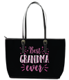 Best Grandma Ever Leather Tote Bag (Large) - Black