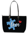 Love Autism Leather Tote Bag (Large) - Black