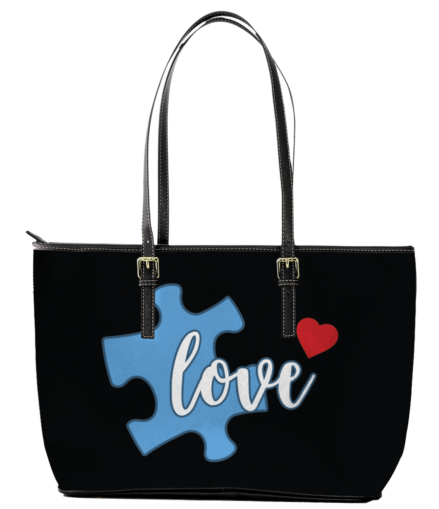 Love Autism Leather Tote Bag (Small) - Black
