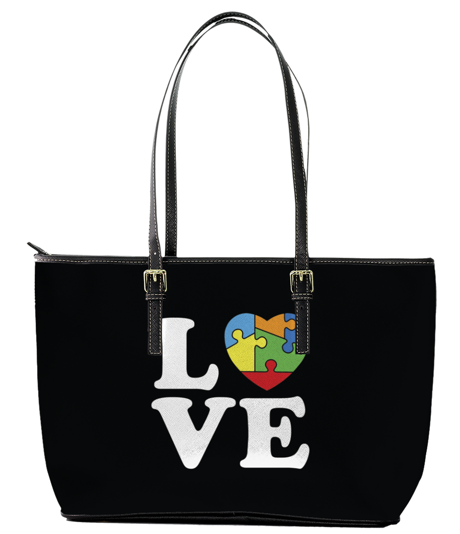 I Heart Autism Leather Tote Bag (Large) - Black