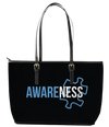 Autism Awareness Leather Tote Bag (Large) - Black