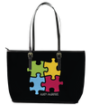 Autism Awareness 4-Piece Puzzle Leather Tote Bag (Small) - Black