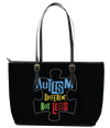 Autism is Different not Less Puzzle  Leather Tote Bag (Small) - Black
