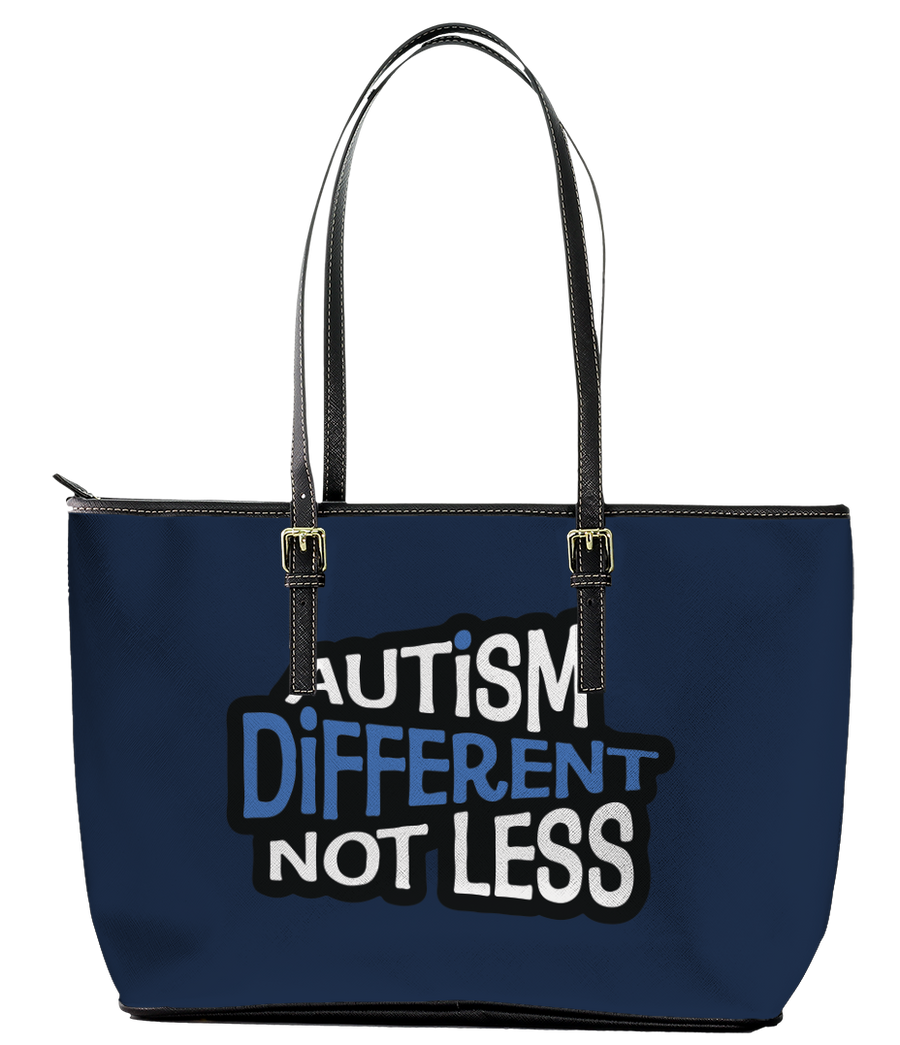 Autism is Different not Less Leather Tote Bag (Large) - Black