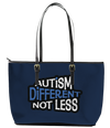 Autism is Different not Less Leather Tote Bag (Small) - Black