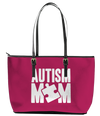 Autism Mom Leather Pinkish Tote Bag (Large) - Pink