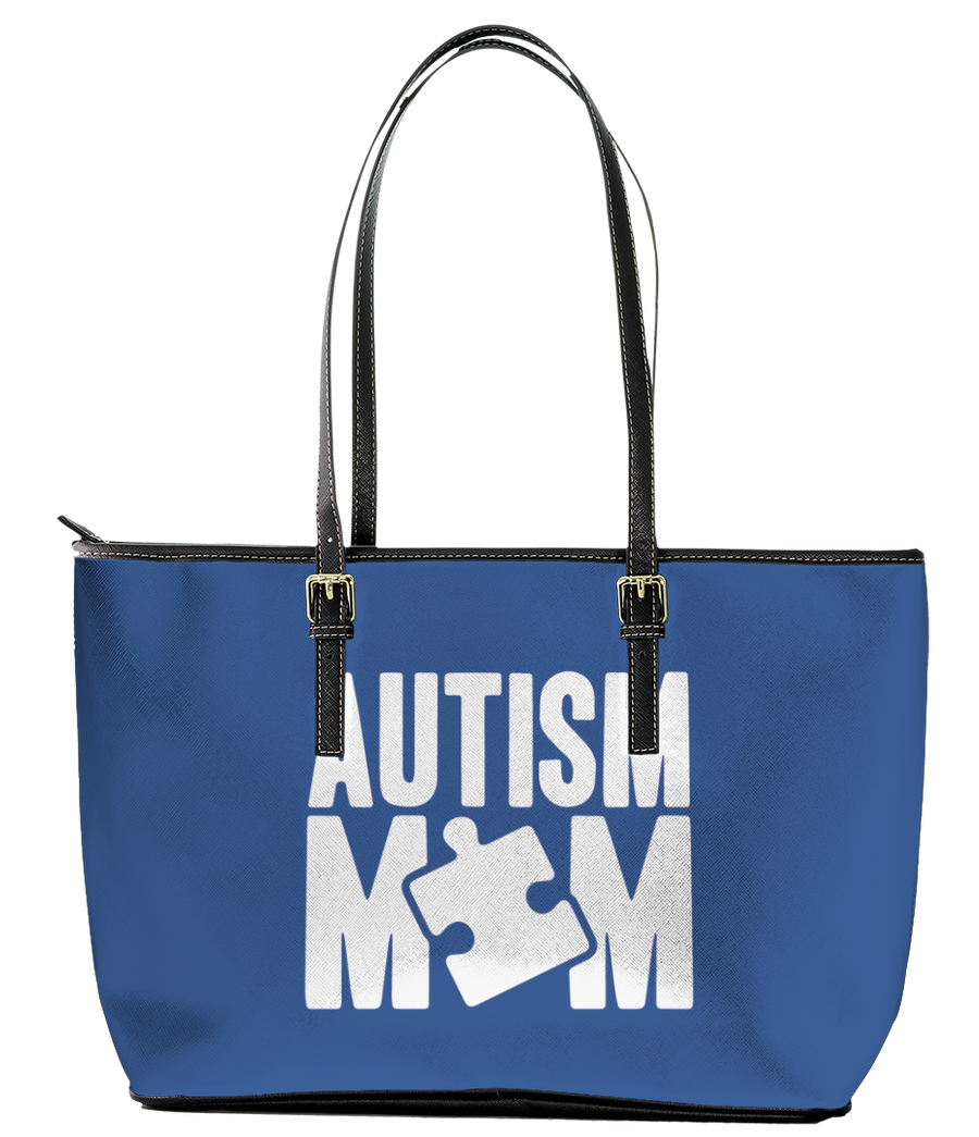 Autism Mom Blue Leather Tote Bag (Large) - Black