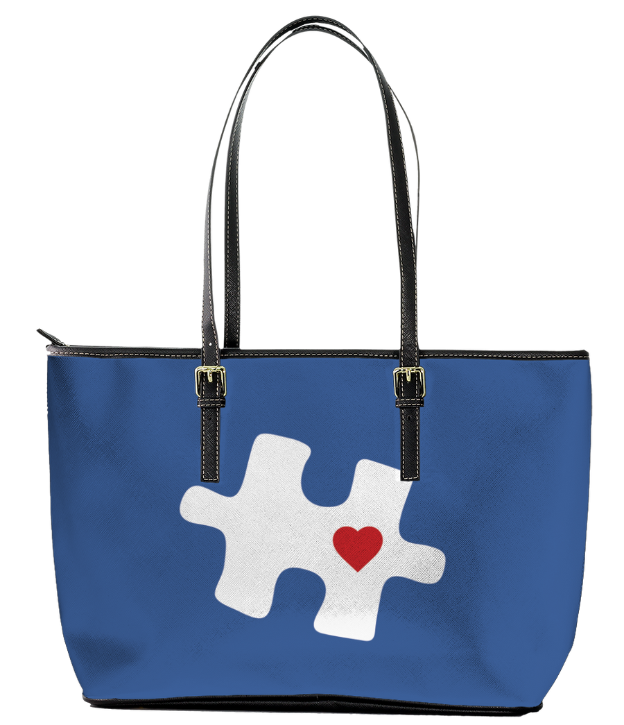 Autism Mom Blue Puzzle with Heart Leather Tote Bag (Large) - Black