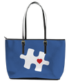 Autism Mom Blue Puzzle with Heart Leather Tote Bag (Small) - Black