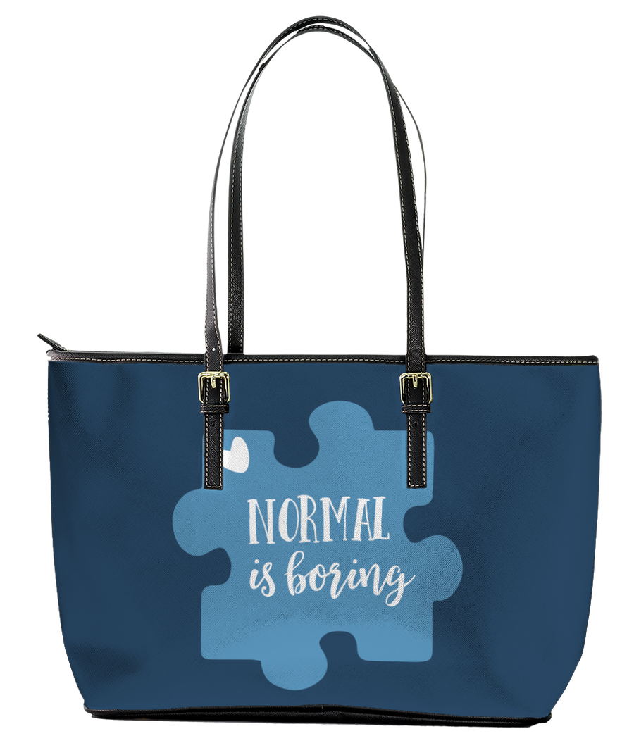 Normal is Boring Autism Leather Tote Bag (Large) - Black