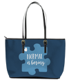 Normal is Boring Autism Leather Tote Bag (Small) - Black