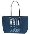 See the Able not the Label Autism Leather Tote Bag (Large) - Black