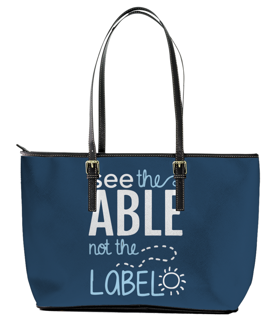 See the Able not the Label Autism Leather Tote Bag (Small) - Black